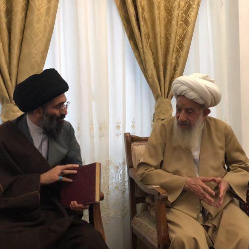 ملاقات حجت الاسلام استاد موسوی مطلق با آيت الله ساكى خرم آبادى