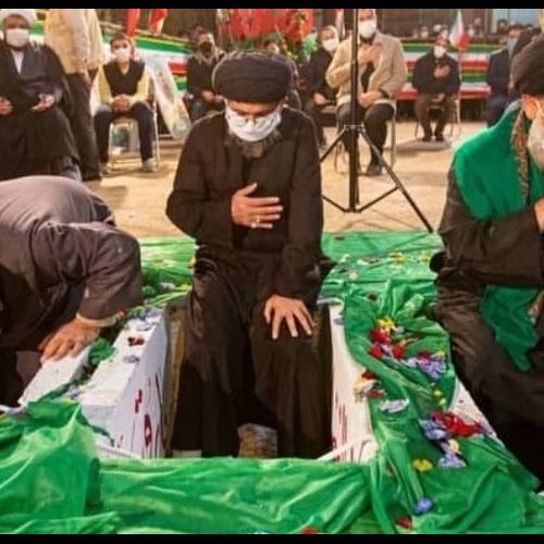 مراسم تدفین سه شهید گمنام در سالروز شهادت حضرت معصومه سلام الله علیها با حضور استاد موسوی مطلق